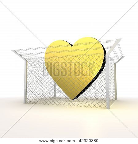 Isolated metallic barbed  happy heart 3d  sign