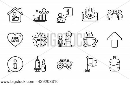 Line Icons Set. Included Icon As Work Home, Social Distancing, Upload Signs. True Love, Cooler Bottl