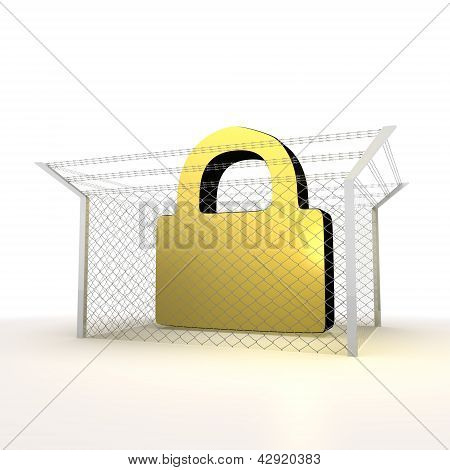 Isolated metallic locked forbidden secure 3d sign