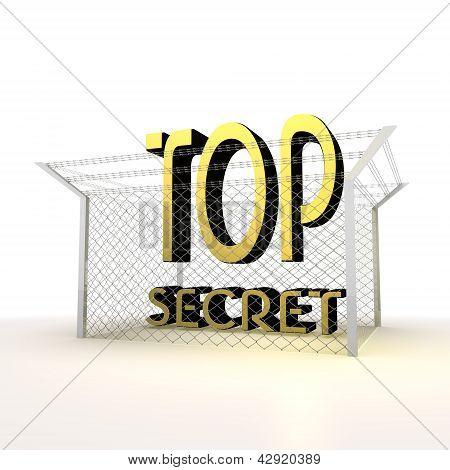 Isolated metallic locked top secret 3d icon