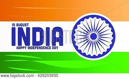 Indian National Flag Color Background With Ashoka Wheel, Elegant Poster, Banner Or Flyer Design For