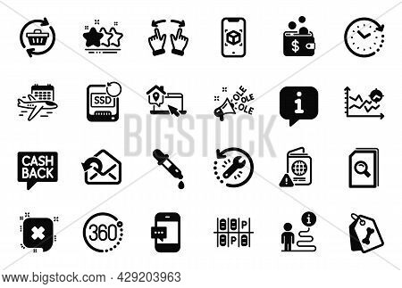 Vector Set Of Business Icons Related To Recovery Ssd, Seo Analysis And Select Flight Icons. Recovery