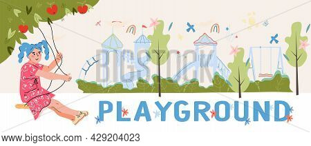 Children Playground Banner, Poster Or Flyer Design With Girl Swinging On Swings. Kids Playzone Poste