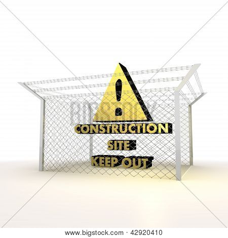 Isolated metallic locked construction site 3d symbol