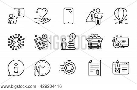 Line Icons Set. Included Icon As Coal Trolley, Start Business, Payment Method Signs. Smartphone, Foo