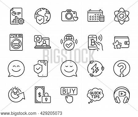 Vector Set Of Online Rating, Green Electricity And Bitcoin Pay Line Icons Set. Verified Internet, Re