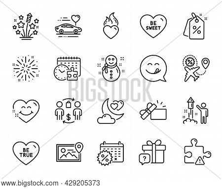 Vector Set Of Fireworks Explosion, Puzzle And Fireworks Stars Line Icons Set. Discount Tags, Puzzle