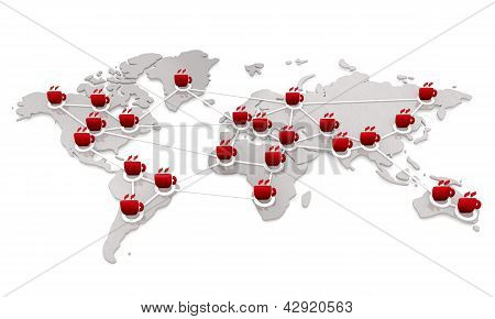 Isolated international coffee network in white display