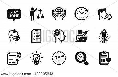 Vector Set Of Sick Man, Idea And Interview Icons Simple Set. Time Change, Time Management And Firewo