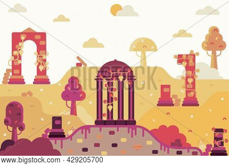 Colonnade Entwined With Grapes, The Remains Of An Ancient Greek Or Roman City - Vector Cartoon Illus
