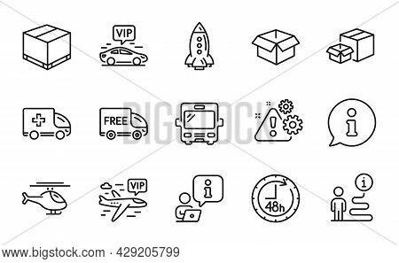 Transportation Icons Set. Included Icon As Opened Box, Vip Transfer, Rocket Signs. Vip Flight, Bus,