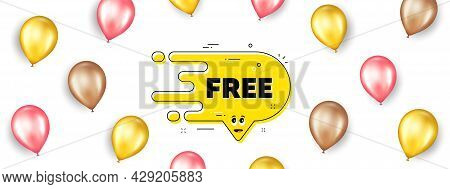 Free Transition Bubble. Promotion Ad Banner With 3d Balloons. Cartoon Face Character Chat Message. Y