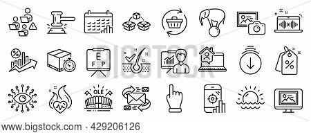 Set Of Business Icons, Such As Music Making, Calendar Graph, Sports Arena Icons. Seo Phone, Sunset,