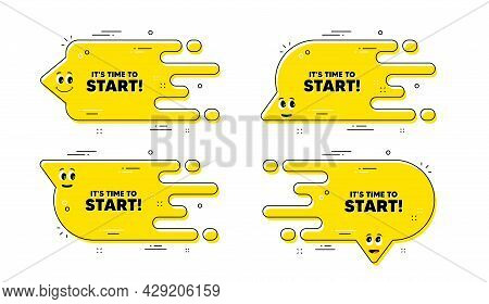 It Is Time To Start. Cartoon Face Transition Chat Bubble. Special Offer Sign. Advertising Discounts
