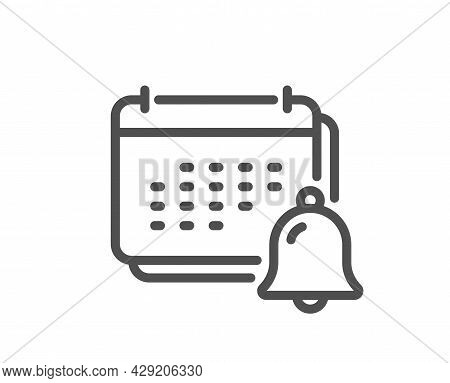 Notification Bell Line Icon. Calendar Sign. Event Reminder Symbol. Quality Design Element. Linear St