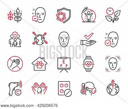Vector Set Of Healthcare Icons Related To Face Biometrics, Pandemic Vaccine And Face Detection Icons