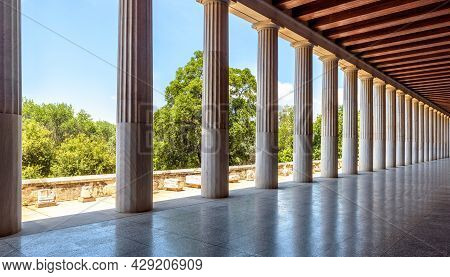Classical Building In Ancient Greek Agora, Athens, Greece. Panorama Inside Stoa Of Attalos, Landmark