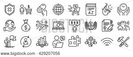 Set Of Business Icons, Such As Save Planet, Vocabulary, Reject Protection Icons. Safe Time, Leadersh
