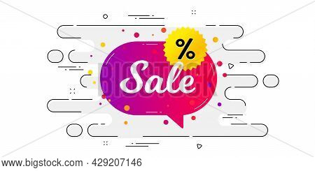 Sale Banner. Geometric Ad Banner On Flow Pattern. Discount Sticker Shape. Coupon Chat Bubble Icon. T