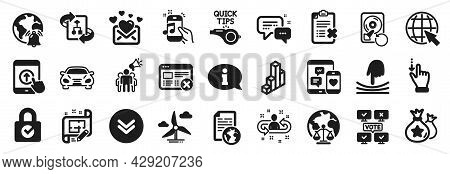Set Of Technology Icons, Such As Elastic, Architect Plan, Online Voting Icons. Internet Notification