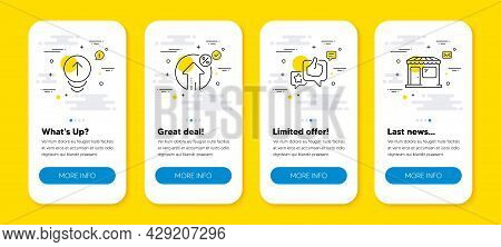Vector Set Of Loan Percent, Swipe Up And Like Line Icons Set. Ui Phone App Screens With Line Icons.