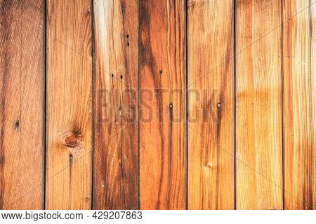 Wood Texture. Wooden Plank Grain Background. Striped Timber Desk Closeup. Old Table Or Floor. Brown
