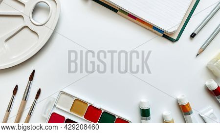 Layout Of The Fields Of Activity Related To Painting On A White Background With Watercolor Paints, O