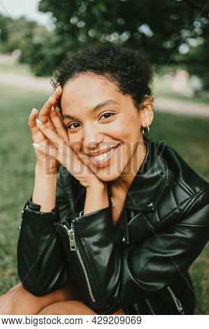 Fashion Close Up Portrait Of Attractive Young Natural Beauty African American Woman With Afro Hair I