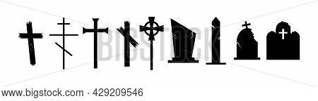 Set Of Horror Realistic Silhouettes Of Crosses And Gravestones. Dark Creepy Headstone Icons.