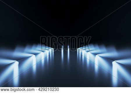 Blurry Illuminated Runway With Lights And Mockup Place. 3d Rendering