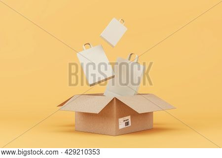 Carton Box With Shopping Bags On Peach Background. Delivery Service Concept. 3d Rendering