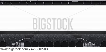 Wide Grey Auditorium With Seating And Empty Screen With Mock Up Place For Your Advertisement. Show P