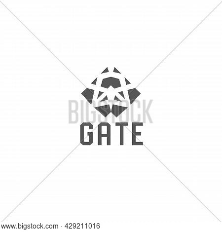 Abstract Ornamental Gate Logo. Gate Geometric Symbol. Design Template For Real Estate, Construction
