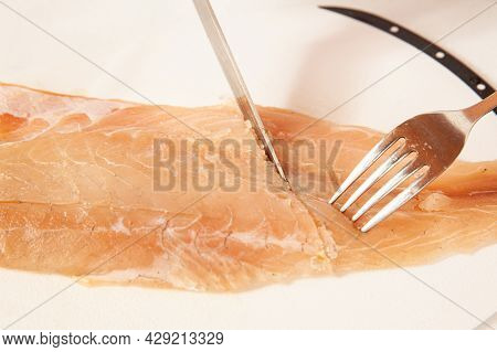 Fish Marinade Preparation Steps: Cutting A Sea Bass Fillet