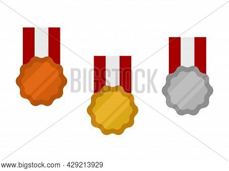 Illustration Of A Gold Medal For Champion 1, Silver For Champion 2 And Bronze For Champion 3