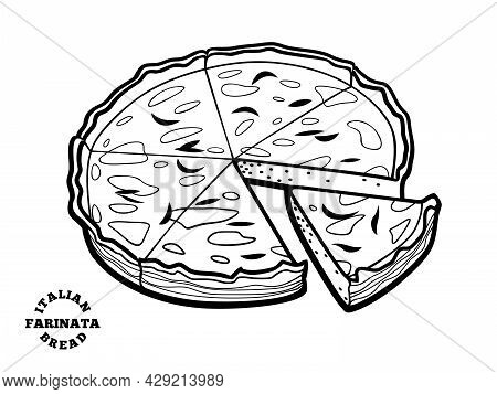 Italian Bread Farinata. Vector Illustration In Doodle Style.