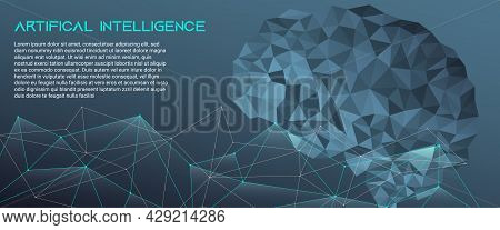 Concept, Artificial Intelligence. Human Brain Concept. Linear Isolated Editable Illustration In Low