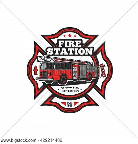 Firefighting Symbol Vector Icon With Fire Truck And Firefighter Equipment. Fire Engine, Hydrant, Fir