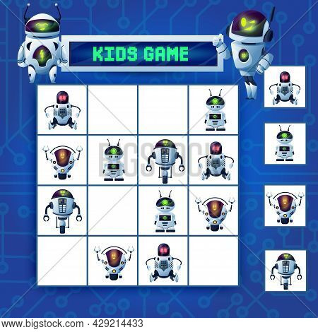 Kids Sudoku Maze Game, Cartoon Robots Vector Riddle With Ai Cyborgs, Humanoids, Drones And Androids