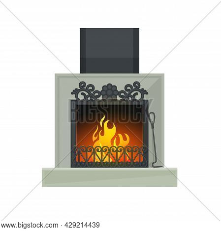 Home Fireplace Or Wood Burning Heart With Flaming Fire Vector Icon Of House Or Room Interior Design.