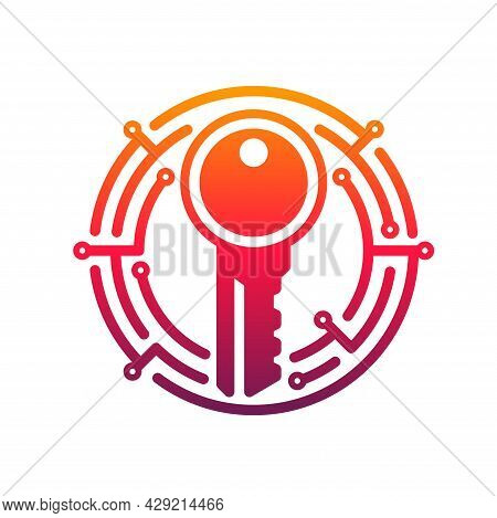 Cyber Security Key Vector Icon Of Network Data Secure Technology. Digital Access Key In Pink Round F