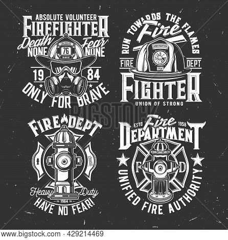 Fireman Helmet And Gasmask, Water Hydrant T-shirt Retro Prints. Fire Department, Emergency Service V