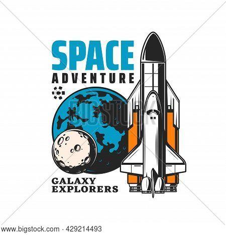 Galaxy Explorer Icon, Rocket Spaceship Launch To Space Exploration, Vector Emblem. Orbital Station O