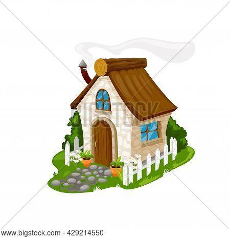 Fairytale Cartoon Stone House, Vector Fantasy Dwelling For Elf, Dwarf, Fairy Or Gnome. Cute Cozy Hom