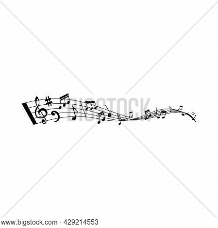 Music Wave With Vector Musical Notes Of Song Or Melody. Swirling Stave Or Staff With Musical Notatio