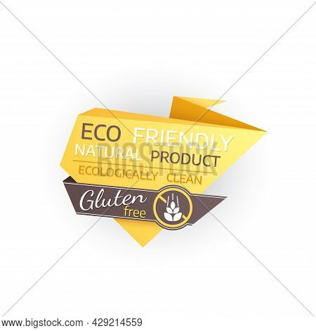 Eco Friendly Gluten Free Isolated Icon Of Natural Food And Diet Product. Vector Origami Paper Banner