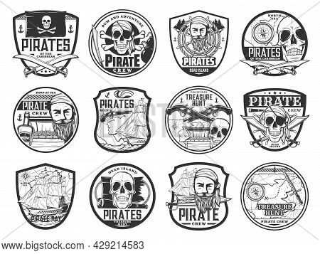 Caribbean Pirate And Corsair Isolated Icons With Vector Pirate Captain, Map, Ship, Skull, Black Flag