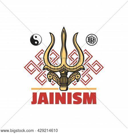 Jainism Religion Symbol Isolated Vector Icon With Jain Dharma Religious Signs. Ahimsa, Yin Yang, End