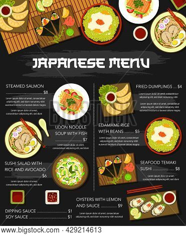 Japanese Cuisine Dish Menu Poster, Japan Food Meals For Lunch And Dinner, Vector. Asian Cuisine, Jap