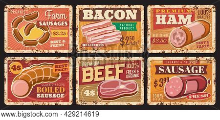 Beef Meat, Sausages And Ham Rusty Plates. Vector Price Tags For Farm Or Butcher Store Production. Me
